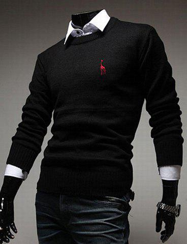 Casual Round Neck Fawn Embroidery Slimming Solid Color Long Sleeves Men's Sweater - BLACK M