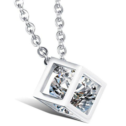 Rhinestone Cube Shape Pendant Necklace - AS THE PICTURE