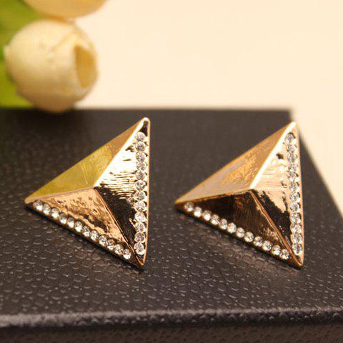 Pair of Stylish Women's Rhinestone Inlaid Triangle Earrings - GOLDEN