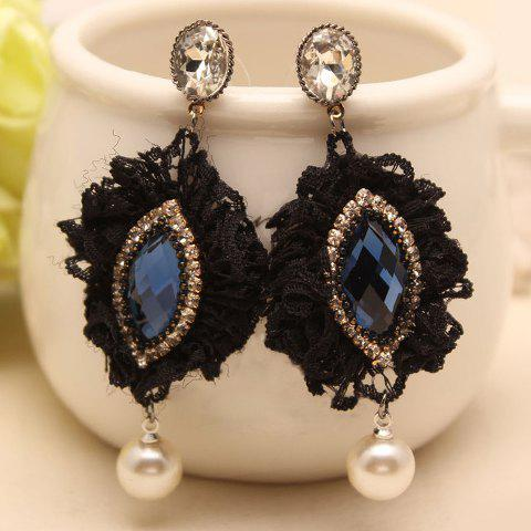 Pair of Retro Rhinestone Faux Pearl and Lace Decorated  Earrings For Women