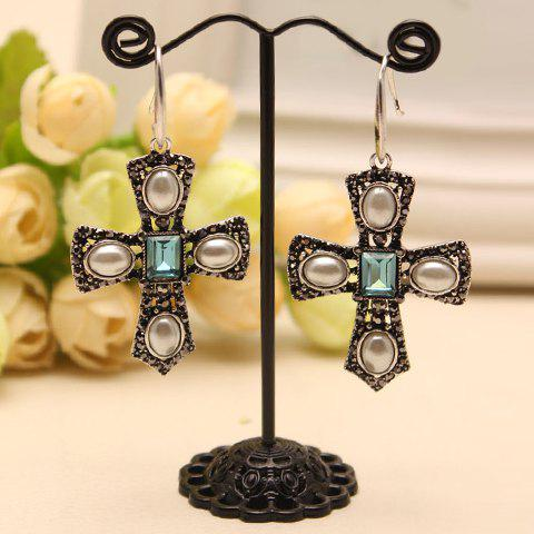Pair of Retro Faux Pearl Decorated Cross Earrings For Women - RANDOM COLOR