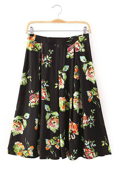 Elegant Flower Pattern High-Waisted Women's Skirt - BLACK/GREEN S