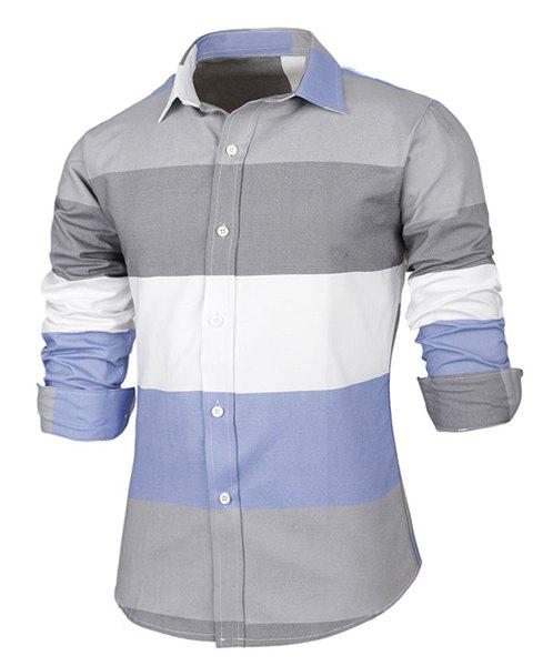 Trendy Distinct Color Block Stripes Print Turn-down Collar Slimming Long Sleeves Men's Shirt - COLORMIX L