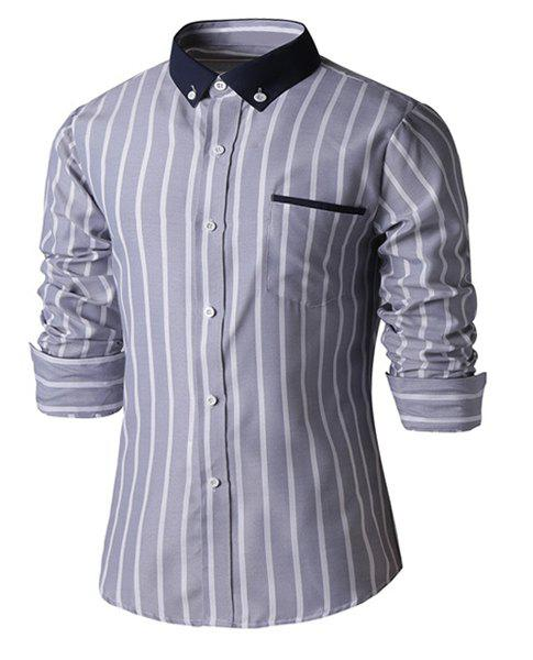 Slimming Color Block Turn-down Collar Stripes Print Pocket Embellished Long Sleeves Men's Shirt - GRAY L