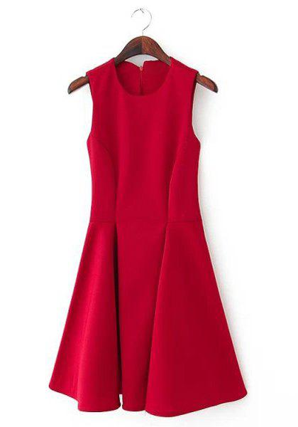 Ladylike Candy Color Round Collar Sleeveless Pleated Dress For Women - DEEP RED M