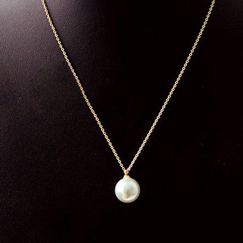 Fake Pearl Round Pendant Necklace - AS THE PICTURE