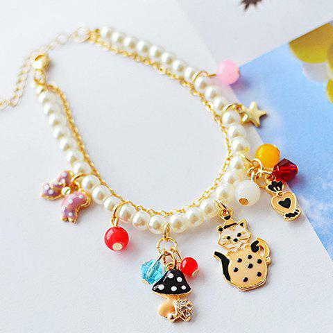 Sweet Kitten and Bow Decorated Faux Pearl Bracelet For Women