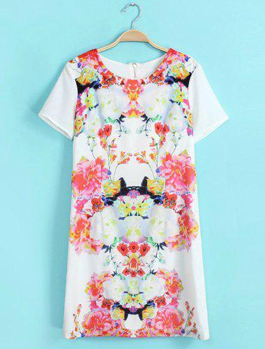 Stylish Floral Print Round Collar Short Sleeve Chiffon Dress For Women - COLORMIX S