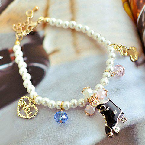 Chic Skating Shoe and Letter Decorated Faux Pearl Bracelet For Women