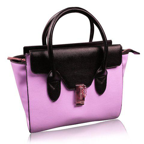 Elegant Color Block and Hasp Design Tote Bag For Women