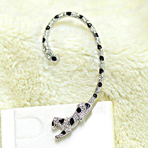ONE PIECE Leopard Rhinestone Decorated Ear Cuff - SILVER