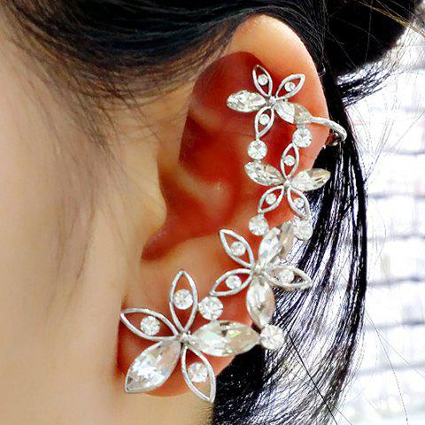 ONE PIECE Faux Crystal Flower Ear Cuff - SILVER