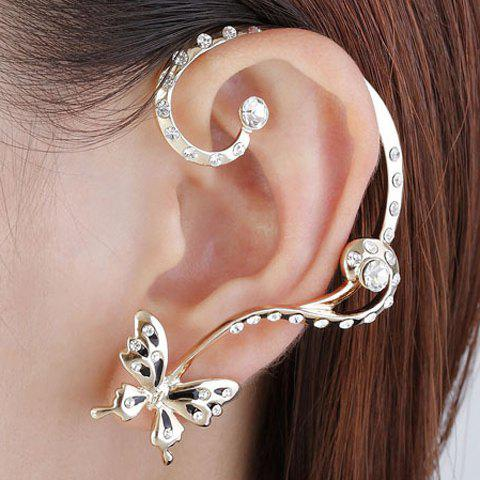 Pair of Sweet Butterfly Rhinestone Inlaid Ear Cuffs For Women