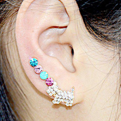 Pair of Luxurious Puppy Rhinestone Women's Earrings - COLORFUL