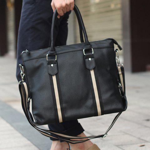 Career PU Leather and Stripe Design Briefcase For Men