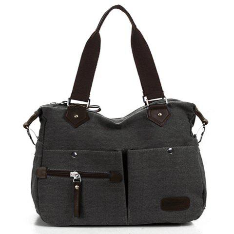 Fashionable Canvas and Zipper Design Shoulder Bag For Women