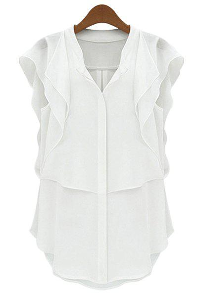 Stylish Short Sleeve V-Neck Solid Color Chiffon Women's Blouse - WHITE S