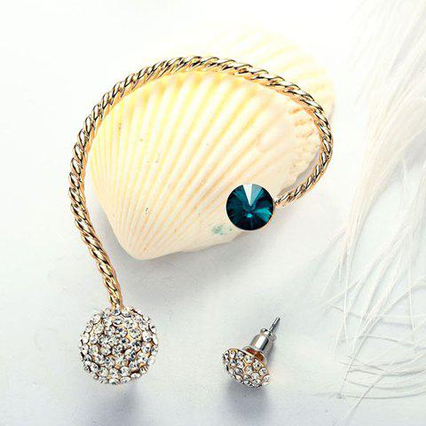 Pair of Retro Women's Rhinestone Ball Earrings