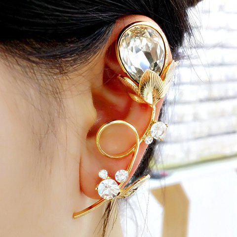 ONE PIECE Sweet Women's Rhinestone Decorated Floral Ear Cuff - GOLDEN