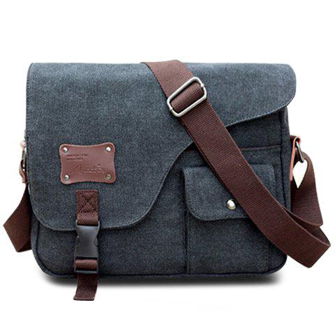 Casual Buckle and Rivet Design Messenger Bag For Men, BLACK in ...