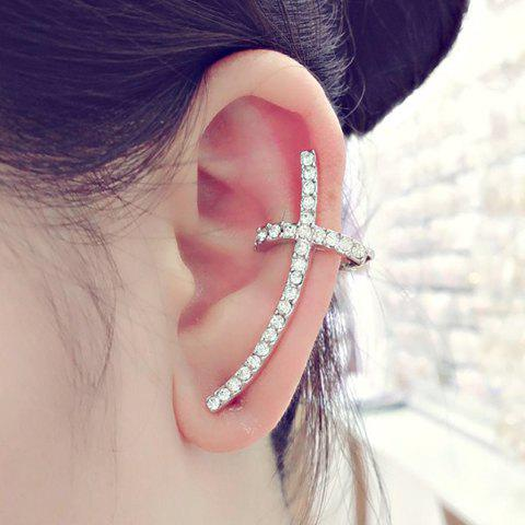 ONE PIECE Rhinestone Cross Ear Cuff - SILVER