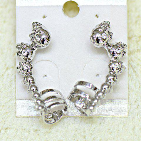 Pair of Stylish Chic Women's Rhinestone Skeleton Earrings - WHITE GOLDEN