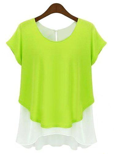Casual color block short sleeve chiffon t shirt for women for Bright green t shirt dress