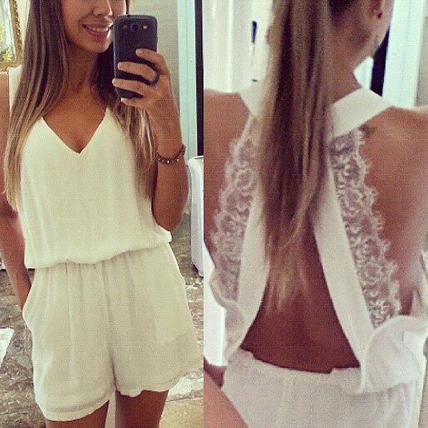 Sexy Plunging Neck Sleeveless Solid Color Laciness Women's Romper - WHITE L