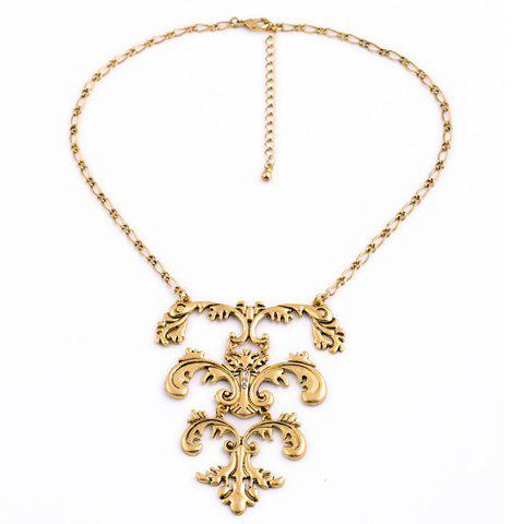Retro Style Floral Necklace For Women - GOLDEN