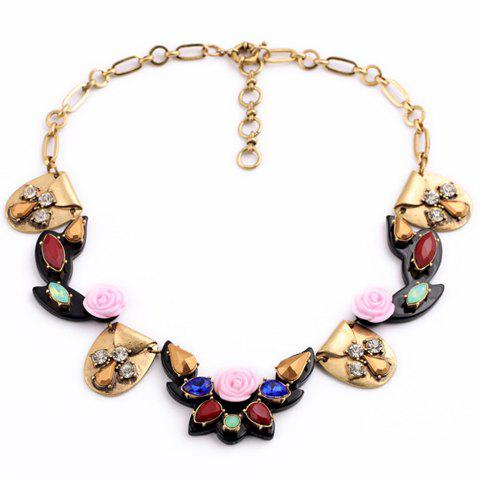 Retro Style Faux Semi-Precious Stone Inlaid Floral Necklace For Women - COLORFUL