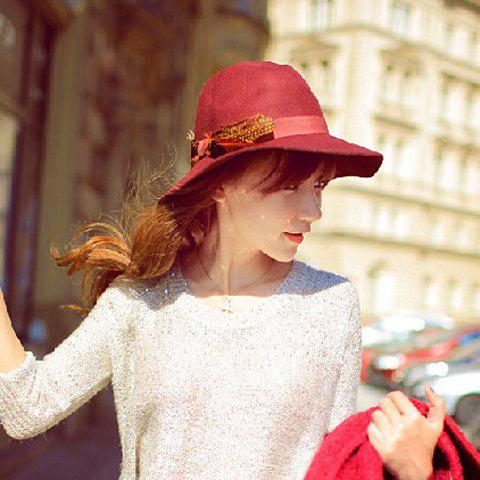 Chic Faux Feather Embellished Women's Felt Fedora -  WINE RED