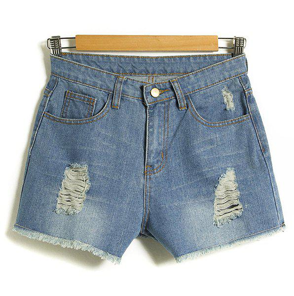 Sweet Button Fly Broken Hole Rough Hem Denim Shorts For Women - XL LIGHT BLUE