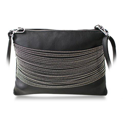 Retro Chains and Black Design Clutch Bag For Women - BLACK