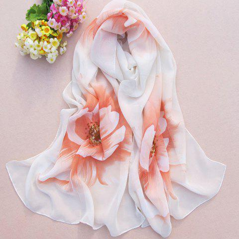 Chic Blossom Print Color Block Women's Chiffon Scarf - RANDOM COLOR