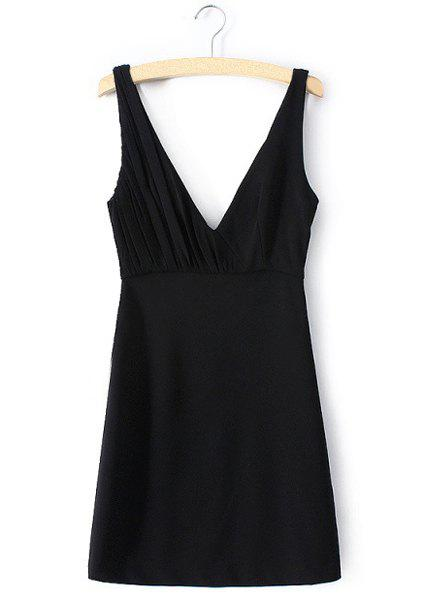 Sexy Black Plunging Neck Sleeveless Mini Dress For Women - BLACK L