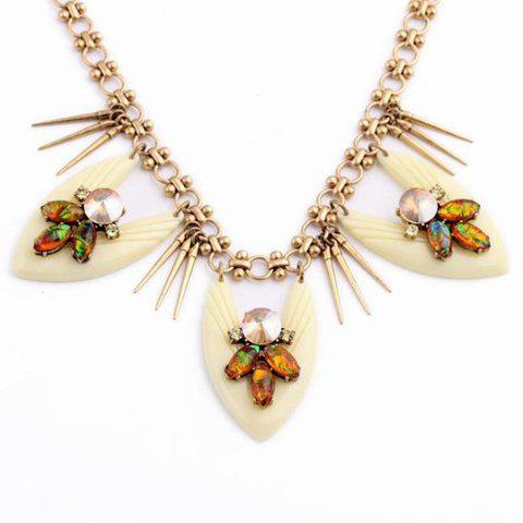 Flower Rhinestone Pendant Necklace