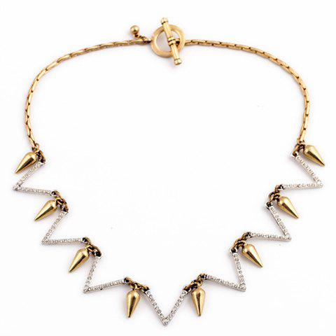Rivet Rhinestone Pendant Chic Necklace For Women - AS THE PICTURE
