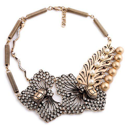 Classic Faux Pearl Rhinestone Openwork Flower Pendant Necklace For Women