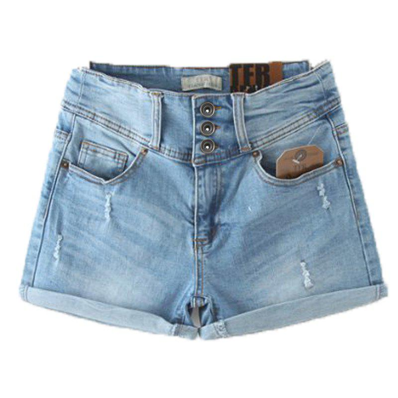 Three Buttons Bleach Wash Fray Fashionable Zipper Fly Denim Shorts For WomenWomen<br><br><br>Size: L<br>Color: LIGHT BLUE