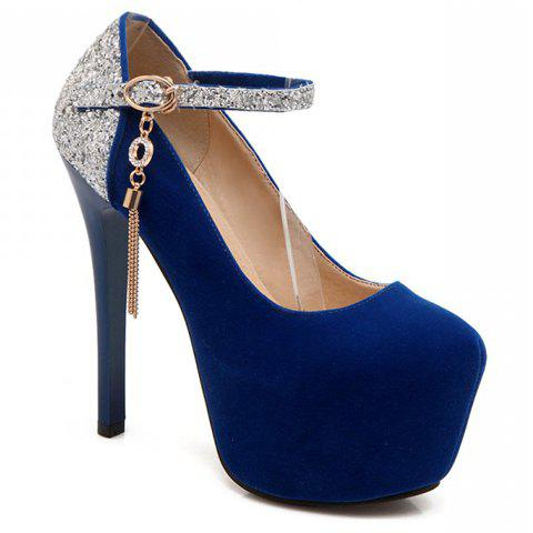 Sexy Tassels and Sequined Design Women's Pumps - BLUE 38