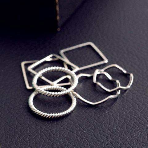 A Suit of Stylish Geometric Rings For Women - SILVER ONE-SIZE