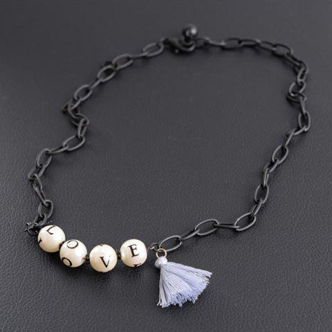 Cute Faux Pearl Letter Necklace For Women - BLACK