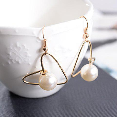 Pair of Sweet Faux Pearl Decorated Openwork Heart Earrings For Women - GOLDEN