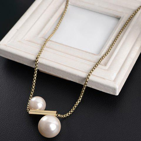 Round Faux Pearl Pendant Stylish Sweater Chain Necklace For Women