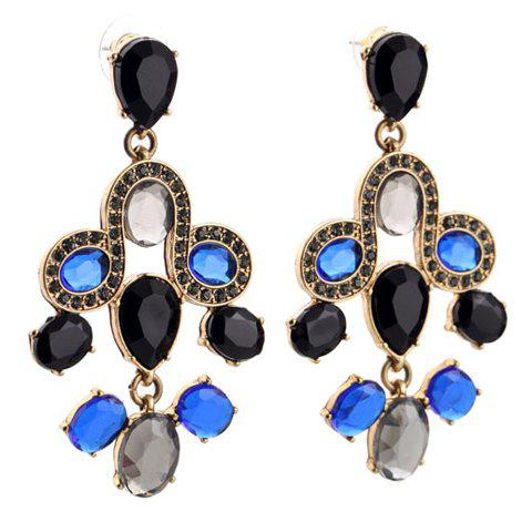 Pair of Teardrop Rhinestone Drop Earrings - BLUE