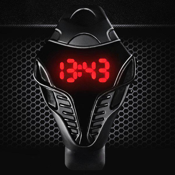 Snakehead Design Sports LED Watch Date Function Rubber Band - BLACK