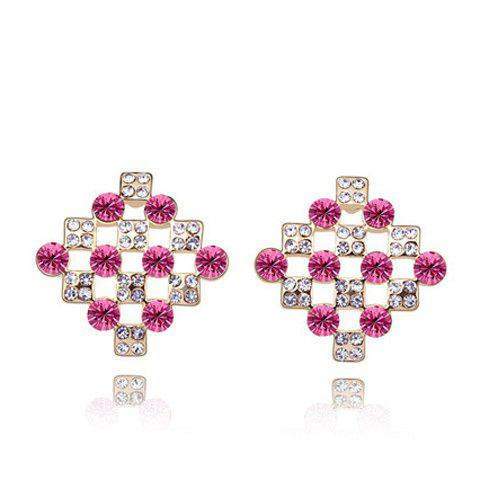Pair of Stylish Rhinestone Inlaid Women's Earrings, Rose madder