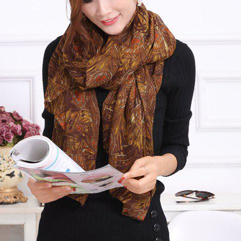 Chic Peacock Feather Pattern Color Block Women's Voile Scarf - COFFEE