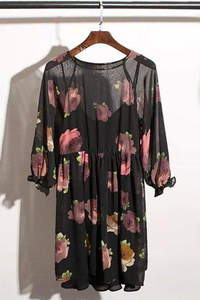 Sexy Black Spaghetti Strap Tank Top and Rose Print 3/4 Sleeve Dress Twinset For Women