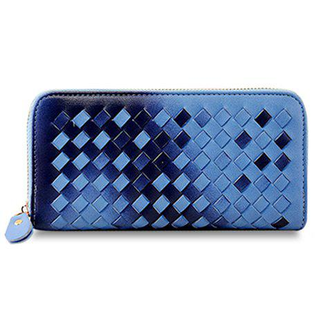 Trendy Weaving and Gradient Color Design Wallet For Women - BLUE